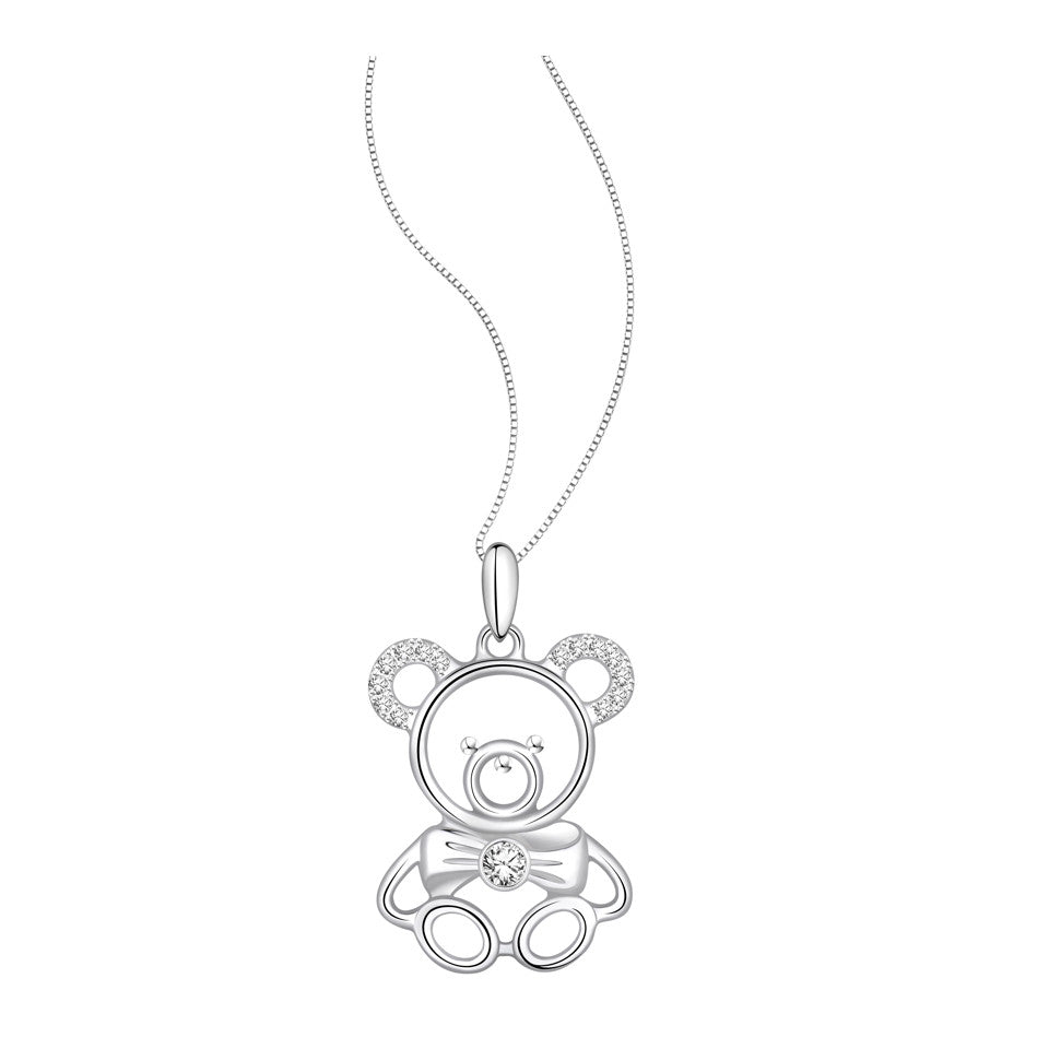 Cuddly Teddy Diamond and White Gold Pendant