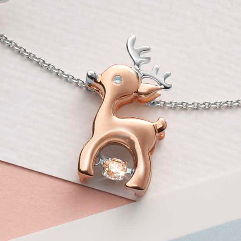 Delightful Reindeer Tango Diamond and Rose Gold Pendant