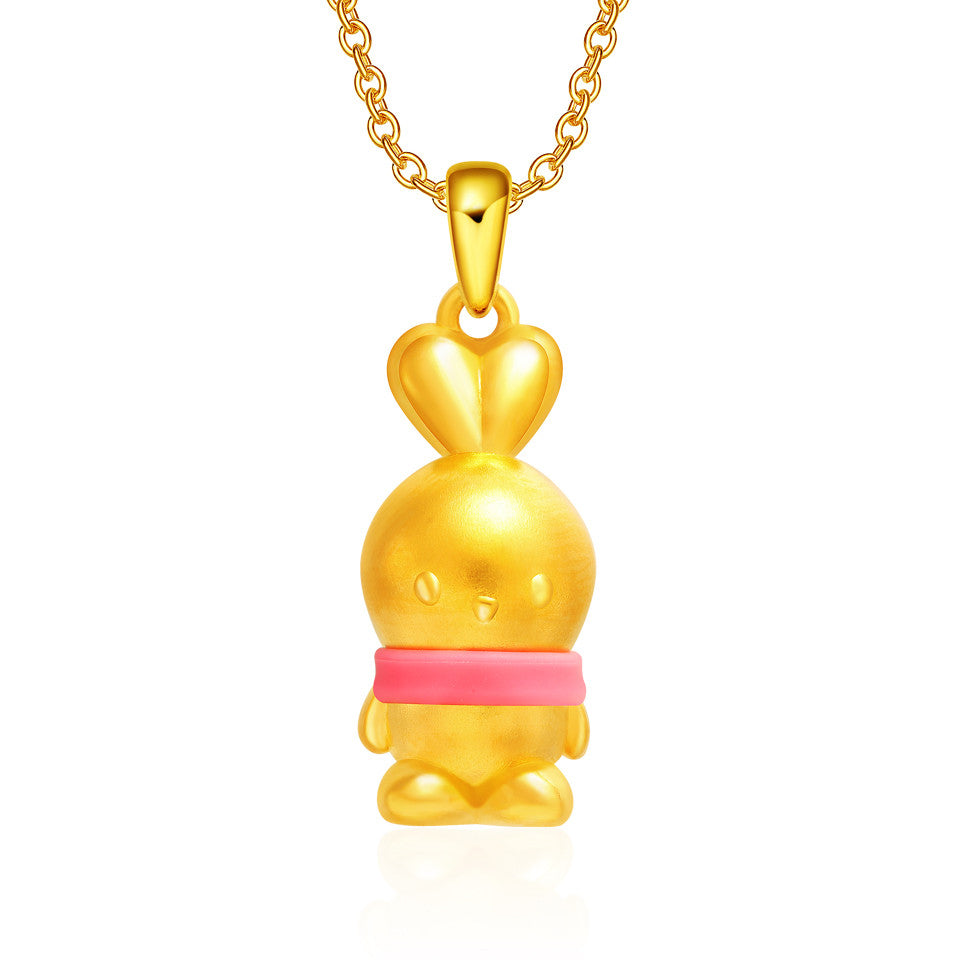 999 Pure Gold Baby Booto 3D Pendant