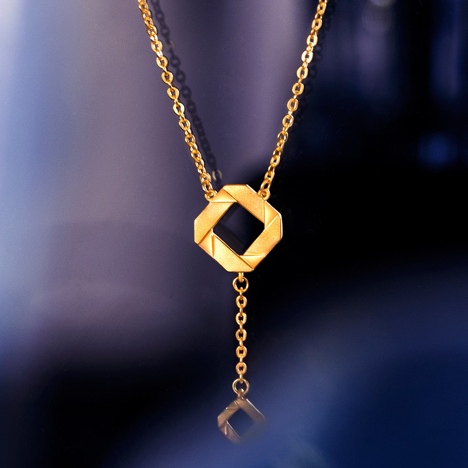 999 Pure Gold Future Gold Dangling Weave Necklace