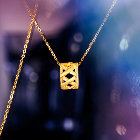 999 Pure Gold Future Gold Ring Weave Necklace