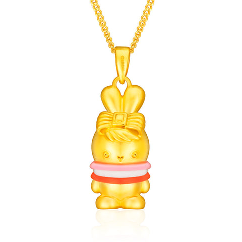 999 Pure Gold Sweetie Pie Tri-Colour Booto 3D Pendant