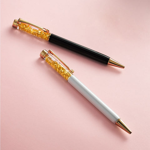 999 Gold Plated Snowing Flakes Pen