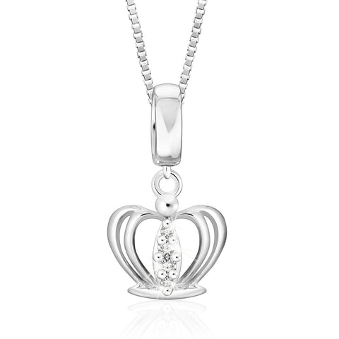 Royal Family Lovely Crown Diamonds and White Gold Pendant
