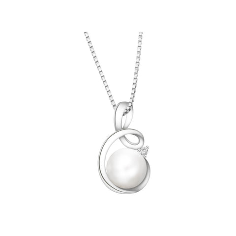 Entwined Twirls Pearl and Diamond White Gold Pendant