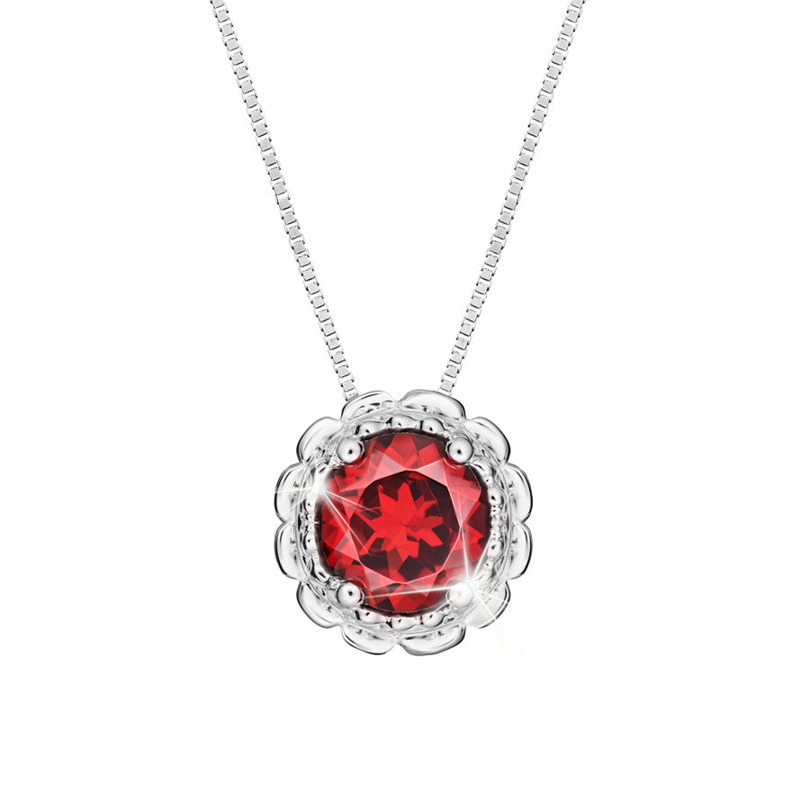 Exquisite Charm Garnet and White Gold Pendant