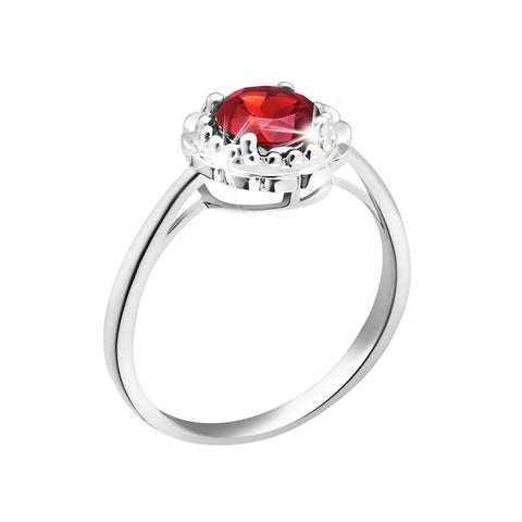 Exquisite Charm Garnet and White Gold Ring