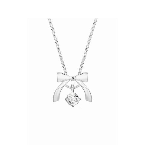 Fancy Ribbon Swing Star Diamond and White Gold Pendant