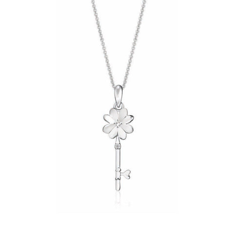 Flower Key Diamond and White Gold Pendant