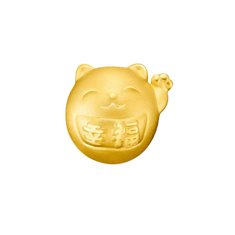 999 Pure Gold Fortune Cat Blessed Harmony Charm