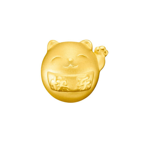 999 Pure Gold Fortune Cat Joyful Delight Charm