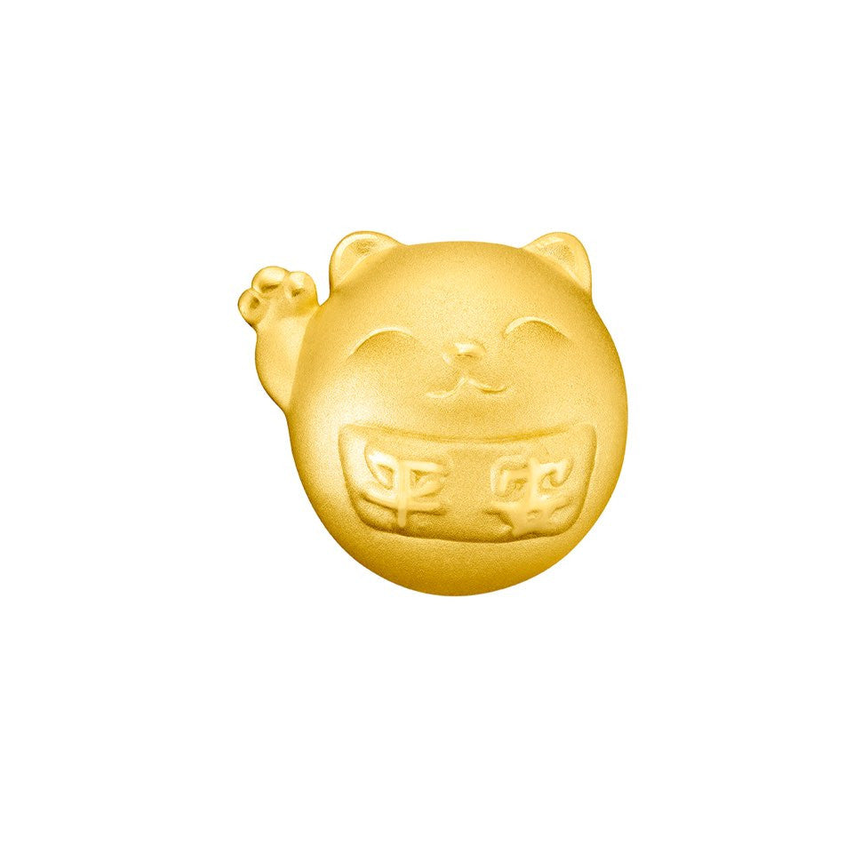 999 Pure Gold Fortune Cat Peace & Happiness Charm