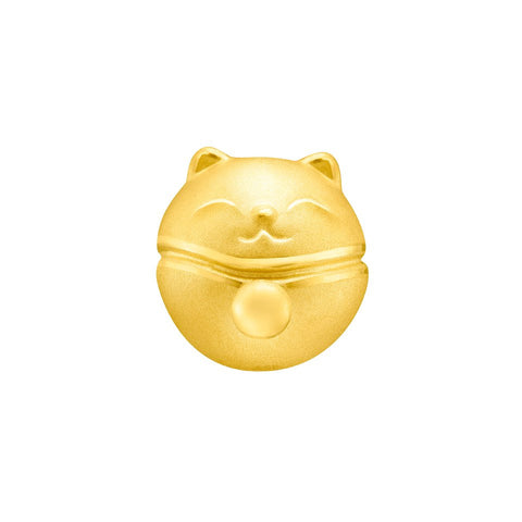999 Pure Gold Fortune Cat Prosperity Bell Charm
