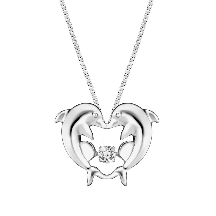 Frolicking Dolphins TANGO™ Diamond and White Gold Pendant
