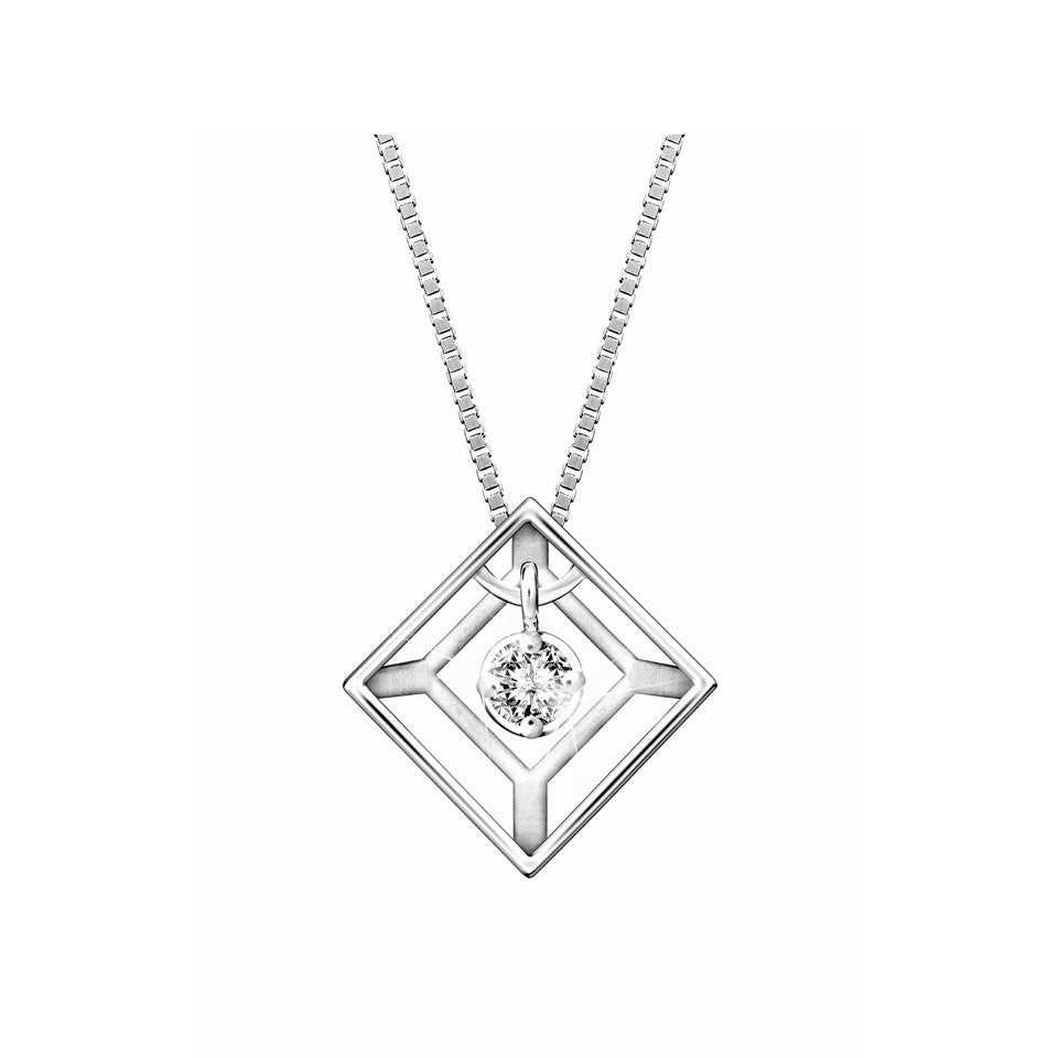 Geometry Swing Star Diamond and White Gold Pendant