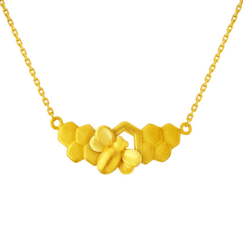 999 Pure Gold Honeycomb of Patience Necklace