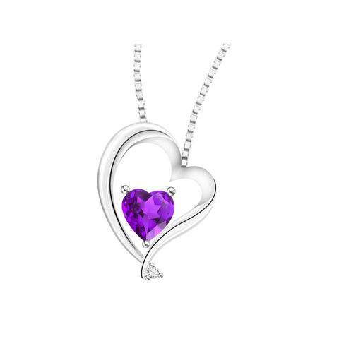 Love's Embrace Coloured Gem and Diamond White Gold Pendant