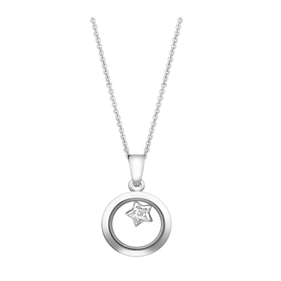 Lovely Diamond - Circle Pendant with Starry Charm