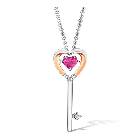 Lovers' Key Rhodolite and Diamonds in Rose and White Gold Pendant
