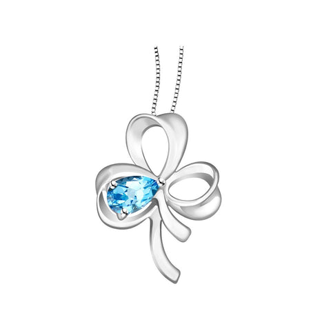 Lucky Clover Coloured Gem and White Gold Pendant