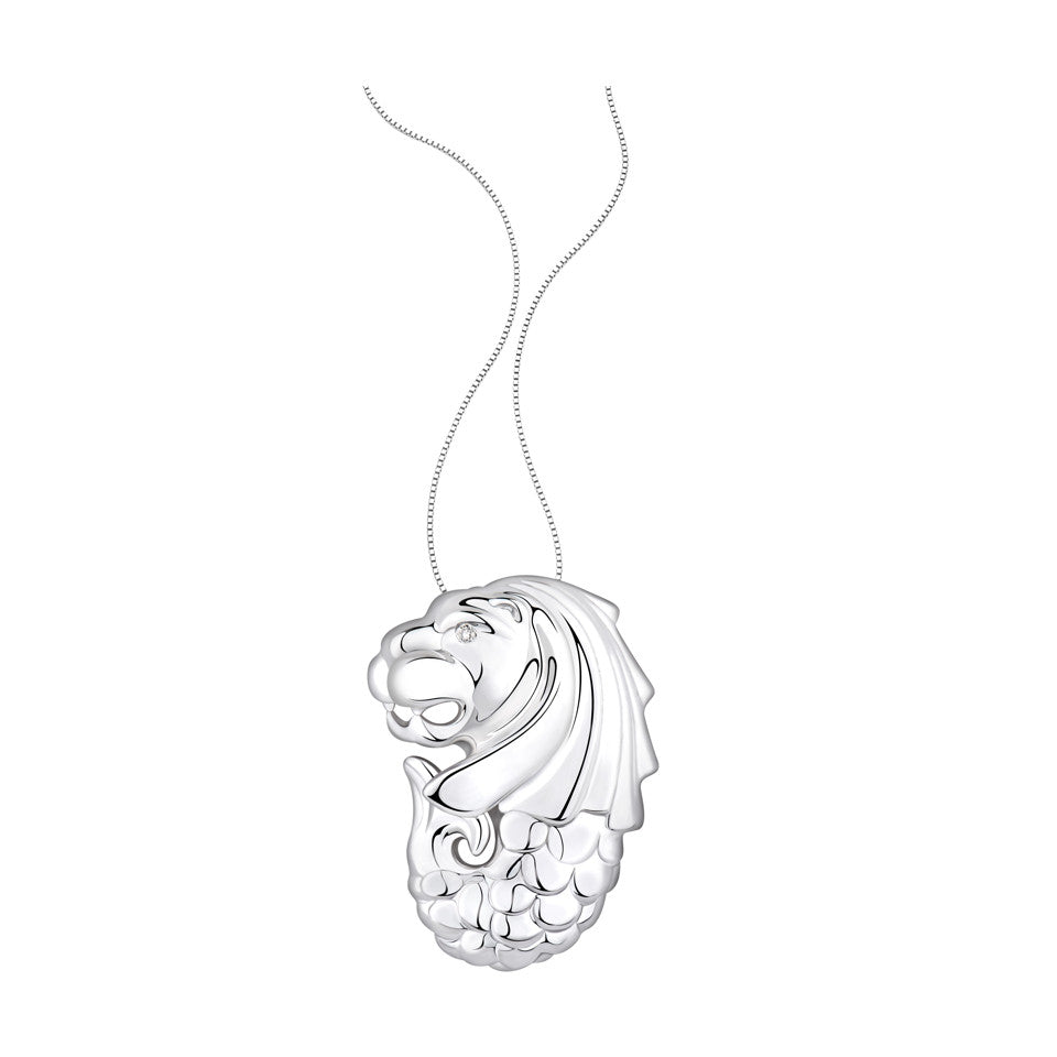 Merlion Diamond and White Gold Pendant