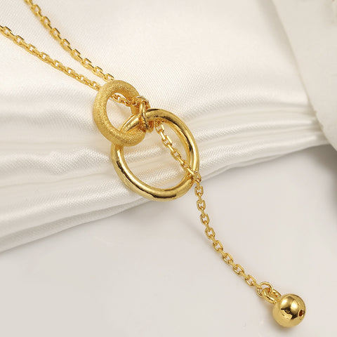 999 Pure Gold Minimalist Entwined Loops Necklace