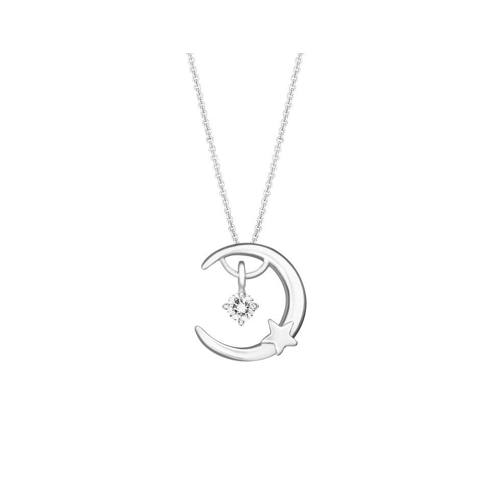 Moonlight Star Swing Star Diamond and White Gold Pendant