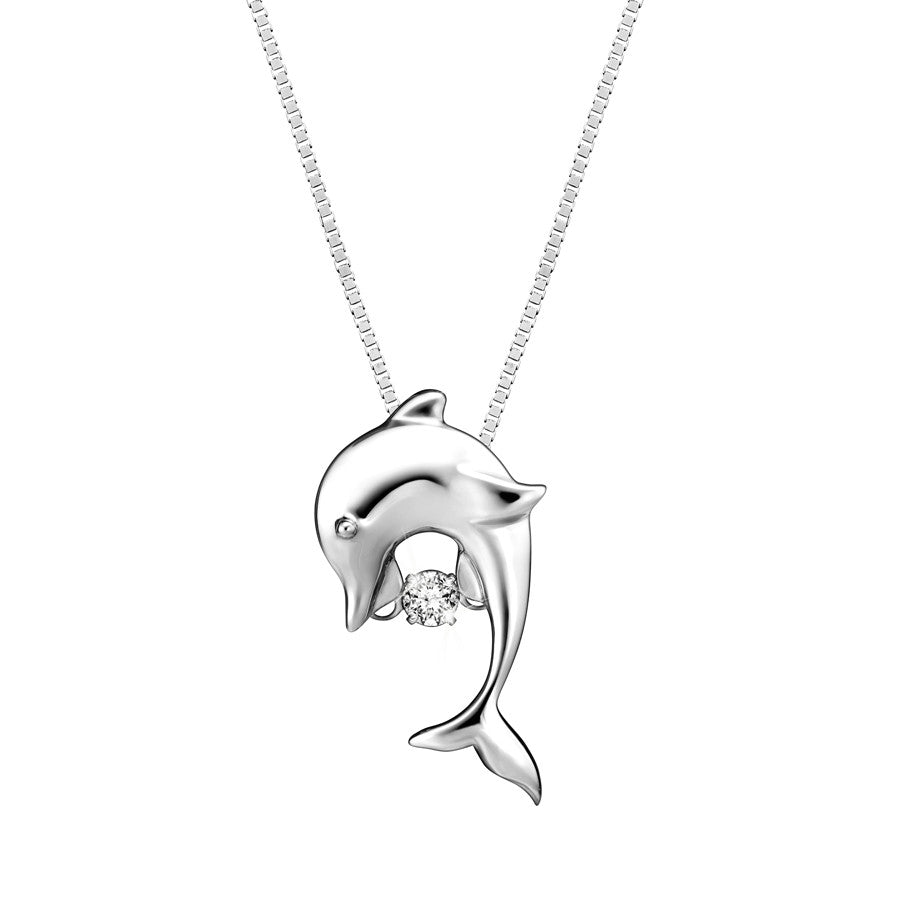 Playful Dolphin TANGO™ Diamond and White Gold Pendant