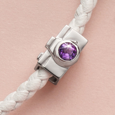 Pose, Click, Snap Camera Amethyst and White Gold Charm