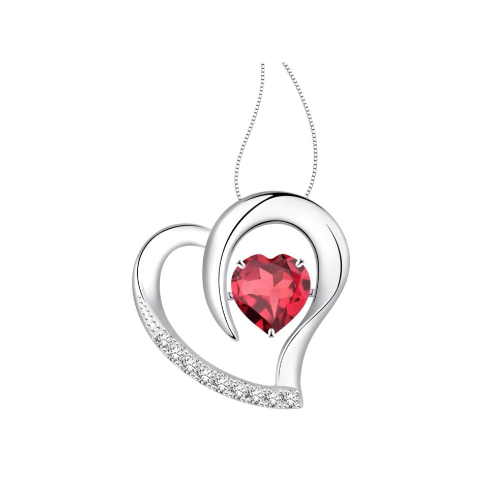 Prancing Hearts Coloured Gem and Diamonds White Gold Pendant