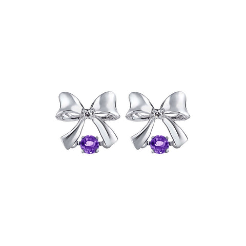 Precious Royal Bow Amethyst and White Gold Earrings