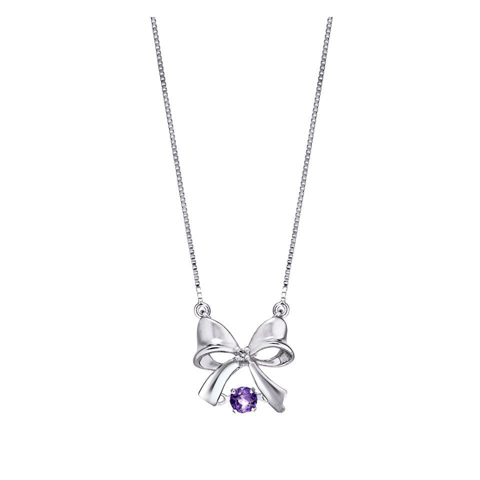Precious Royal Bow Amethyst and White Gold Necklace