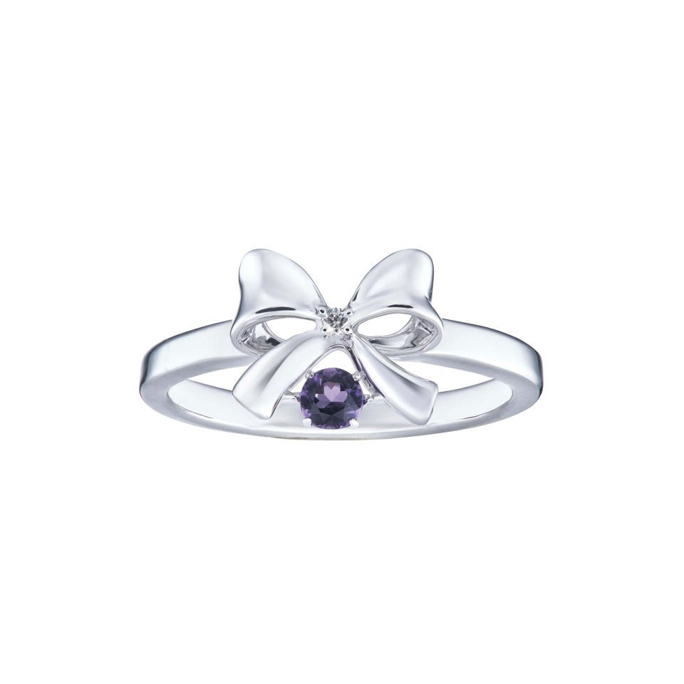 Precious Royal Bow Amethyst and White Gold Ring