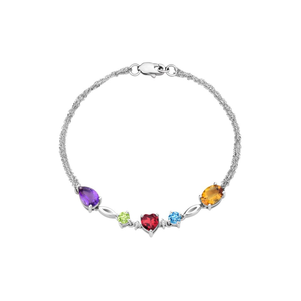 Rainbow Reverie Coloured Gem and Diamonds White Gold Bracelet