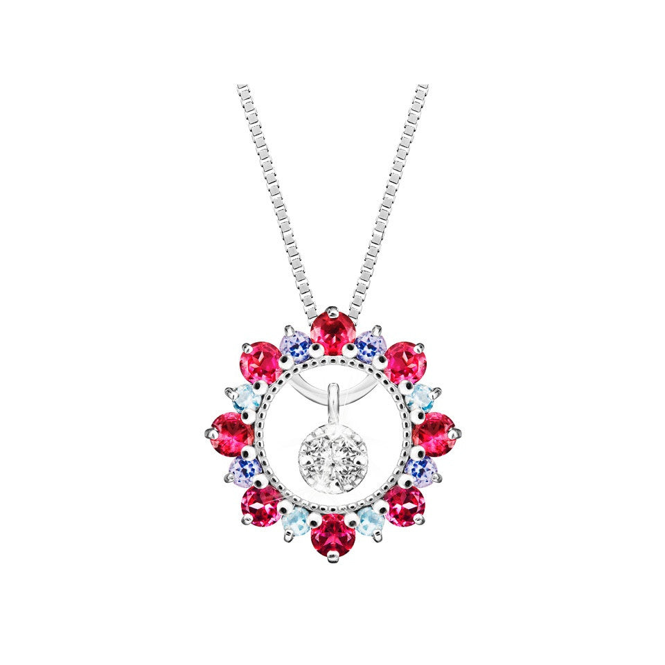 Rainbow of Love Swing Star Diamond, Coloured Gem and White Gold Pendant