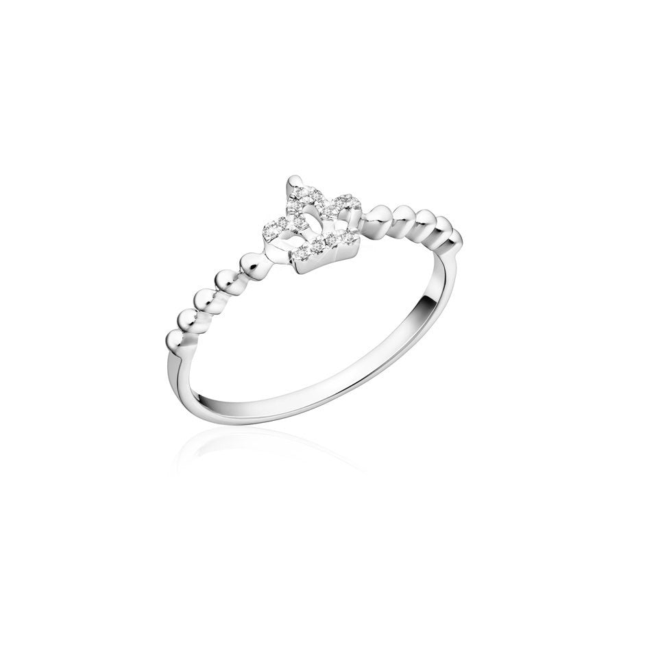 Royal Family Charming Crown Diamonds and White Gold Ring