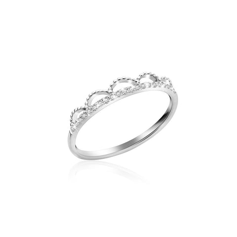 Royal Family Graceful Tiara Diamonds and White Gold Ring
