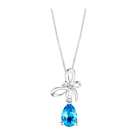 Royal Kew Butterfly's Embrace Topaz with Diamonds White Gold Pendant