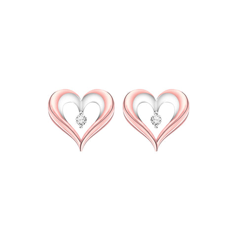 Simplicity Hearts Diamond and Rose and White Gold Earrings