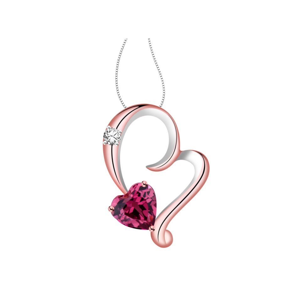 Sweetheart Dearest Coloured Gem and Diamond Rose Gold Pendant
