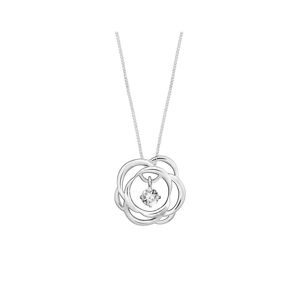 Swing Star Enchanted Rose Diamond and White Gold Pendant