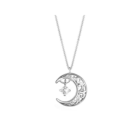 Swing Star Midnight Moon Diamond and White Gold Necklace