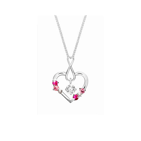 Swing Star Sweetheart Diamond, Coloured Gem and White Gold Pendant