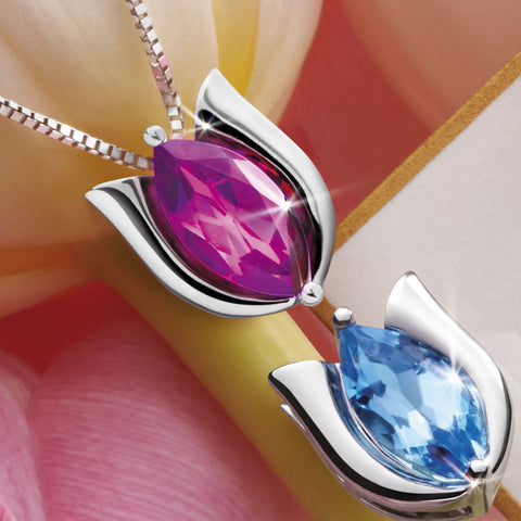 Netherland Spring Tulips Coloured Gem and White Gold Pendant