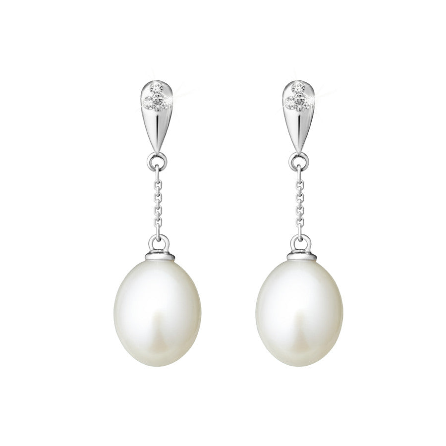 Tranquil Sands Pearls, Diamonds and White Gold Earrings