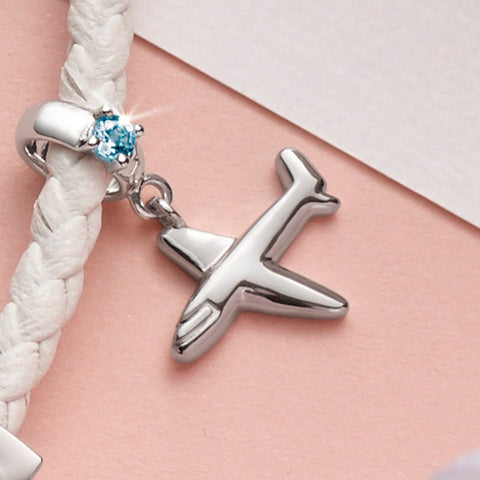 Traveller's Dream Airplane Amethyst and White Gold Charm