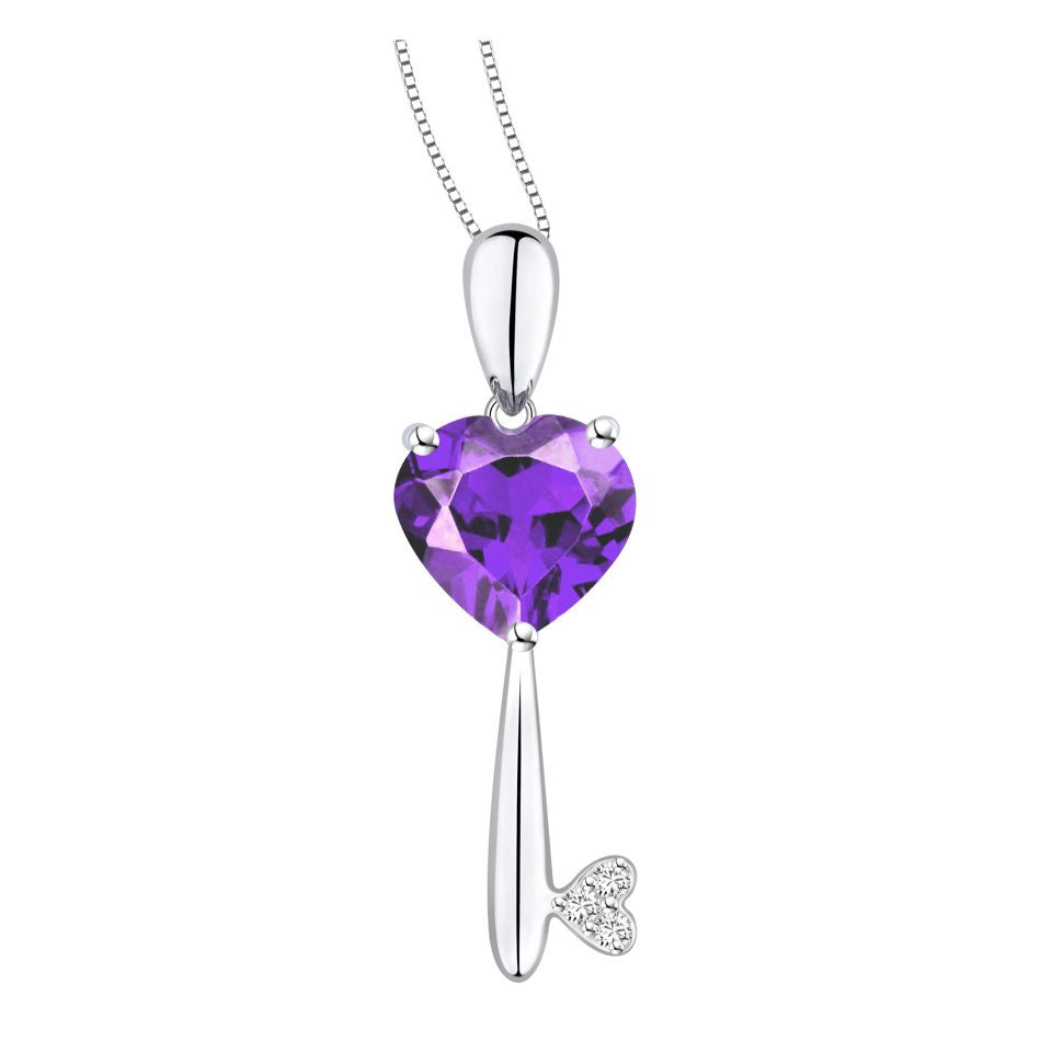 Unlock My Heart Coloured Gem and Diamond White Gold Pendant