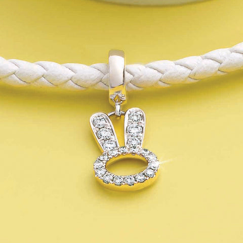 Whimsical Bunny Diamond and White Gold Charm