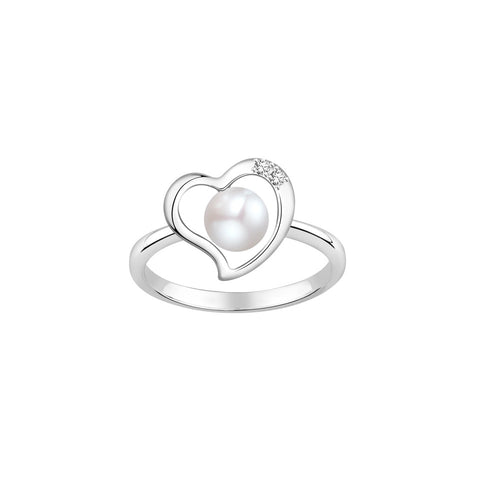 White Elegance Pearl and Diamonds White Gold Ring