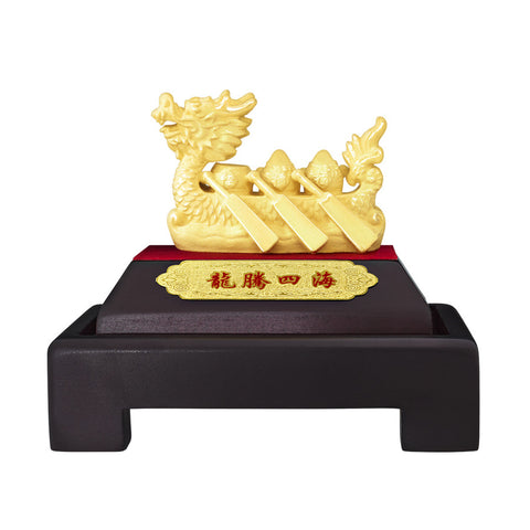 999 Pure Gold Plated Dragon Boat Figurine